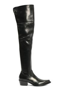 Черные высокие ковбойские сапоги Ermanno Scervino
