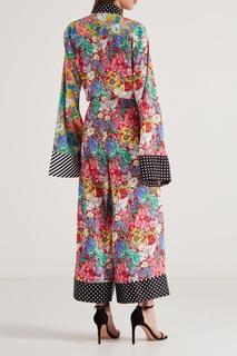 Комбинированные брюки с цветочным принтом Aquazzura X Racil