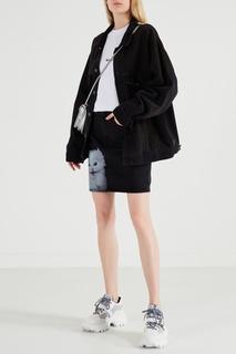 Черная юбка с контрастным принтом Msgm