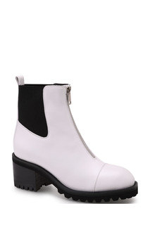 Белые кожаные ботинки с резиновыми вставками Portal