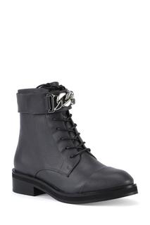 Темно-серые ботинки с декоративной цепью Portal