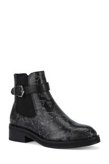 Серо-черные ботинки из кожи рептилии Portal