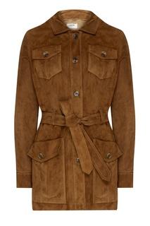 Куртка из замши с накладными карманами Izeta