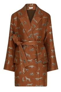 Двубортный пиджак с леопардами Izeta