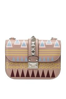 Кожаная сумка с принтом Lock Valentino