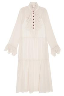 Бежевое платье с воланами See by Chloé