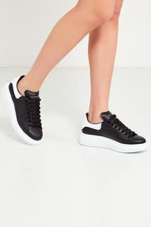 Черные кожаные кроссовки Alexander Mc Queen