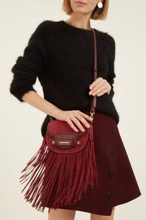 Комбинированная бордовая сумка с бахромой Cary Michael Kors