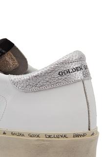 Кроссовки с серебристыми звездами Hi Star Golden Goose