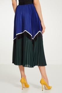 Двухцветная плиссированная юбка Self Portrait