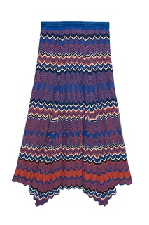 Красно-синяя трикотажная юбка с узором Sandro