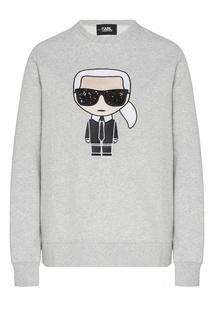 Серый свитшот с рисунком Karl Lagerfeld