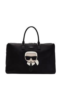 Черная сумка с символикой бренда Karl Lagerfeld