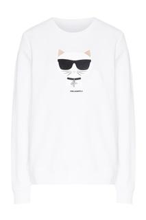 Белый свитшот с рисунком Karl Lagerfeld