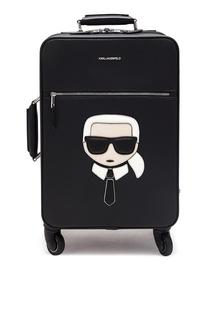 Черный чемодан с фирменной аппликацией Karl Lagerfeld
