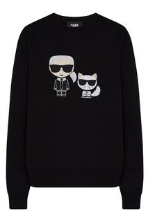 Черный свитшот с ярким рисунком Karl Lagerfeld