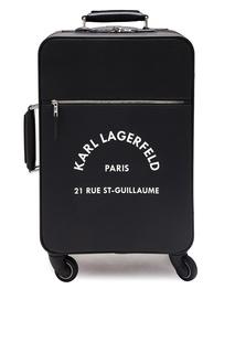 Черный чемодан с контрастным логотипом Karl Lagerfeld