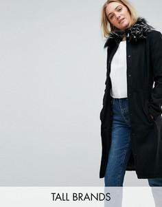 Пальто с воротником из искусственного меха Brave Soul Tall Davina-Черный