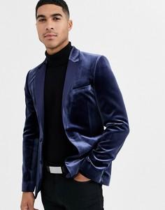 Темно-синий супероблегающий бархатный пиджак-смокинг ASOS DESIGN