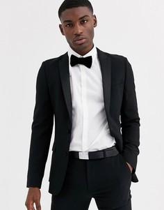 Черный приталенный пиджак-смокинг ASOS DESIGN
