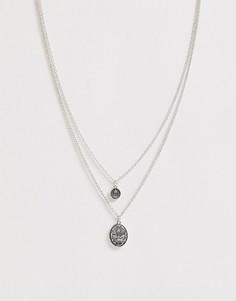 Серебристое ожерелье в два ряда с подвеской Icon Brand-Серебряный