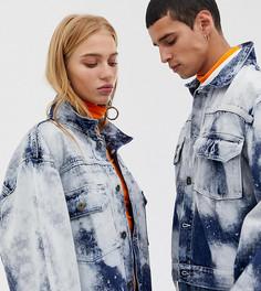 Джинсовая oversize-куртка с выбеленным эффектом COLLUSION Unisex-Бежевый