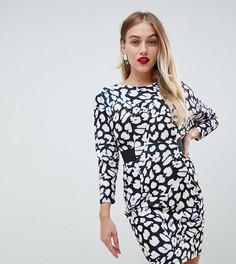 Платье мини с эластичной талией и леопардовым принтом ASOS PETITE-Мульти