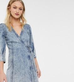 Синее джинсовое платье мини с запахом Monki-Синий
