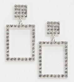Серебристые квадратные серьги-подвески со стразами Monki-Серебряный
