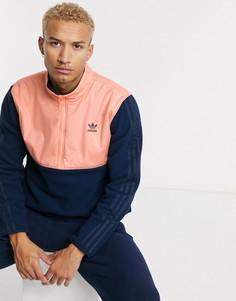 Темно-синяя флисовая куртка на молнии с 3 полосками adidas Originals-Темно-синий