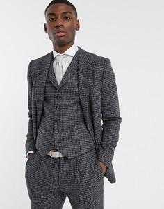Сине-серый твидовый приталенный пиджак из 100% овечьей шерсти ASOS DESIGN
