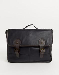 Кожаный портфель с двумя ремешками черного/коричневого цвета ASOS DESIGN-Черный