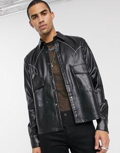 Черная свободная рубашка в стиле вестерн из искусственной кожи ASOS EDITION-Черный