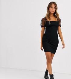 Черное платье мини из органзы с пышными рукавами New Look-Черный
