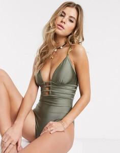 Слитный купальник цвета хаки New Look-Зеленый