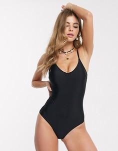 Черный слитный купальник New Look