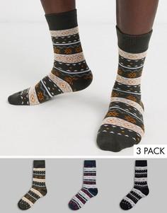 Набор из 3 пар толстых носков с принтом Jack & Jones-Мульти