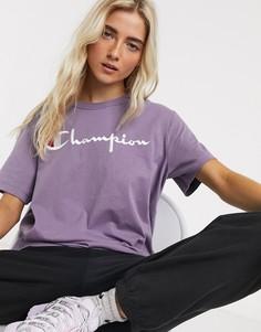 Свободная футболка с логотипом Champion-Фиолетовый
