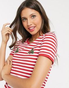 Новогодняя футболка с окантовкой Brave Soul-Красный