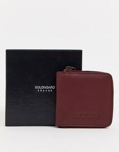 Кожаный бумажник на молнии Bolongaro Trevor-Красный