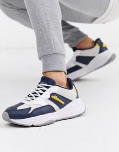Бело-синие кожаные кроссовки на массивной подошве Ellesse-Темно-синий