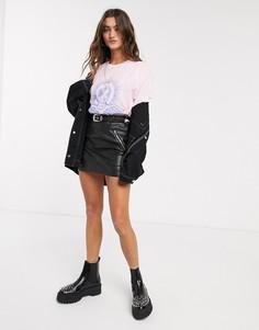 Черная мини-юбка из искусственной кожи в ковбойском стиле Bershka-Черный