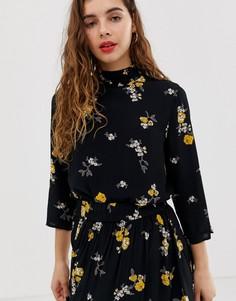 Блузка с цветочным принтом Pieces Belle-Черный