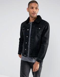 Джинсовая куртка с воротником из искусственного меха Brave Soul-Черный