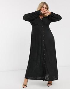 Платье макси с длинными рукавами и зебровым рисунком ASOS DESIGN Curve-Черный