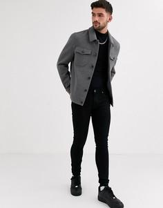 Серая куртка в стиле вестерн с добавлением шерсти ASOS DESIGN-Серый
