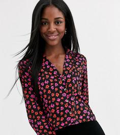 Блузка с цветочным принтом и воротником в виде лацканов Wednesdays Girl-Черный