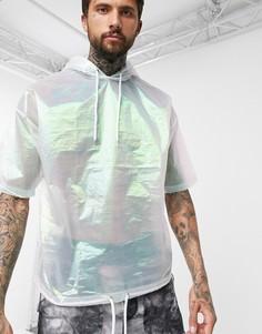 Oversize-футболка с капюшоном и укороченными рукавами ASOS DESIGN-Белый