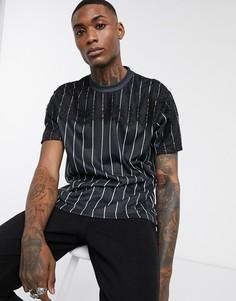 Свободная футболка в вертикальную полоску с кружевной отделкой ASOS DESIGN-Черный