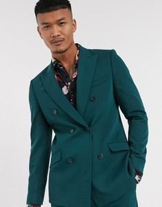 Зеленый двубортный пиджак Lockstock